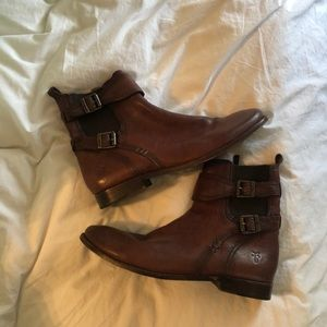 Frye Zip Ankle Chelsea Boots with buckle